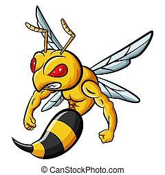 mascotte, abeille, fort, caractère, dessin animé