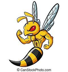 mascotte, ape, carattere, forte, cartone animato