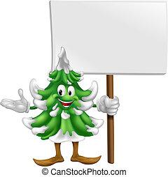 mascotte, arbre, noël, signe