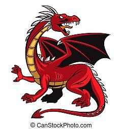 mascotte, arrabbiato, cartone animato, rosso, drago