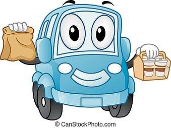 mascotte, automobile, guidare thru