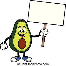 mascotte, avocado, meldingsbord