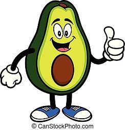 mascotte, avocado, op, duimen