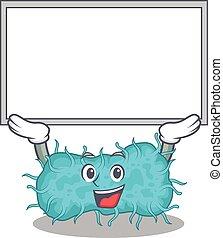 mascotte, bactérie, conception, planche, prokaryote, haut, ascenseur