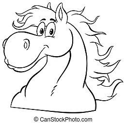 mascotte, bianco, testa, nero, character., cartone animato, cavallo