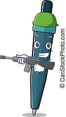 mascotte, boekrol, machine, pen, geweer, leger, fontijn