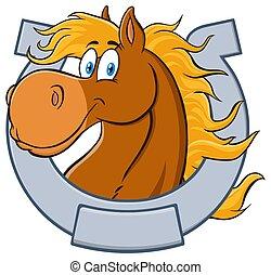 mascotte, carattere, testa, cartone animato, cavallo, horseshoe.