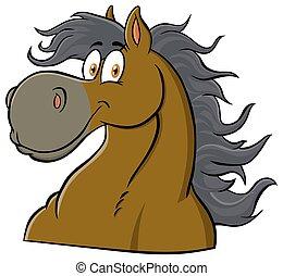 mascotte, carattere, testa, cartone animato, cavallo