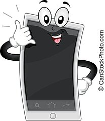 mascotte, chiamata cellphone, me, gesto