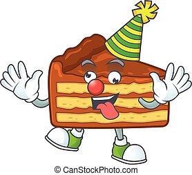 mascotte, chocolat, clown, style, dessin animé, couper, gâteau, amuser, caractère