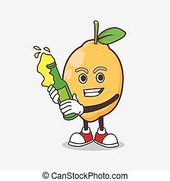 mascotte, citron, tenue, fruit, dessin animé, bière, caractère