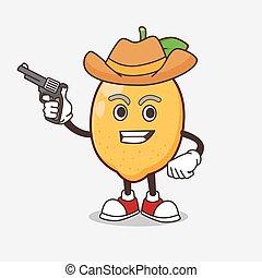 mascotte, citron, tenue, fusil, fruit, dessin animé, caractère