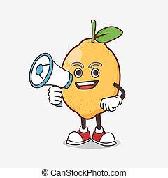 mascotte, citron, tenue, porte voix, fruit, dessin animé, caractère