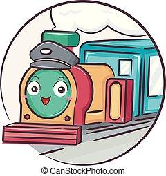 mascotte, conducteur train, retro, illustration