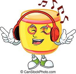 mascotte, dessin animé, écoute, caractère chinois, conception, musique, or, tambour
