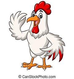 mascotte, dessin animé, onduler, poulet, coq
