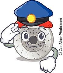 mascotte, dessin animé, surveiller voiture, frein, exécuté, officier