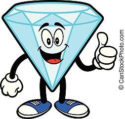 mascotte, diamant, haut, pouces
