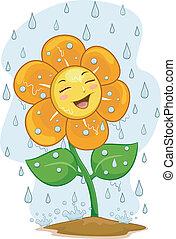 mascotte, fiore, pioggia, sotto
