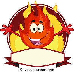 mascotte, flamme, dessin animé, étiquette