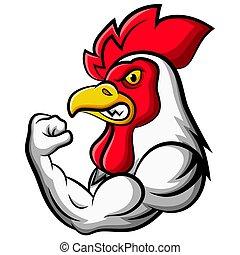 mascotte, fort, poulet, conception, dessin animé