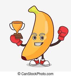 mascotte, gioco, vincitore, arcata, pugilato, frutta, banana, macchina, carattere, cartone animato