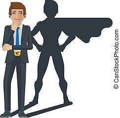mascotte, héros, dessin animé, super, ombre, homme affaires