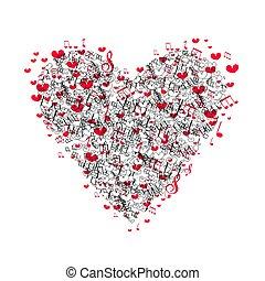 mascotte, hart, vector, liefde, valentine, illustratie, day., t-shirt, music., muzikalisch, logo