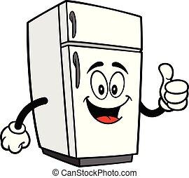 mascotte, haut, réfrigérateur, pouces