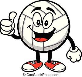 mascotte, haut, volley-ball, pouces
