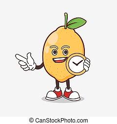 mascotte, horloge, citron, tenue, fruit, dessin animé, caractère