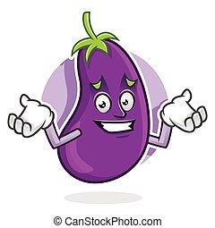 mascotte, karakter, aubergine, sorry, gevoel, spotprent