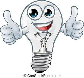 mascotte, lightbulb, dessin animé, lumière, caractère, ampoule