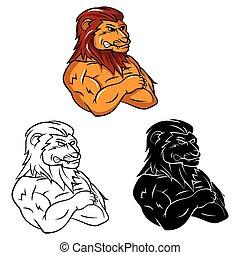mascotte, lion, livre coloration, caracter
