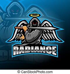 mascotte, logo, conception, guerrier, esport, ange