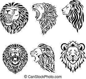 mascotte, logo, grand, figure, ensemble, lion