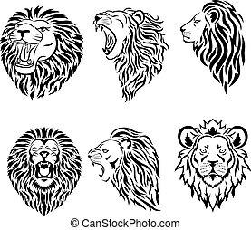 mascotte, logo, groot, gezicht, set, leeuw