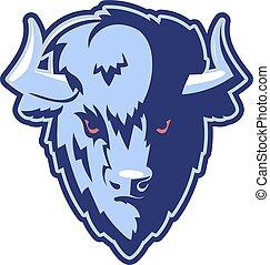 mascotte, logotipo, testa, bufalo