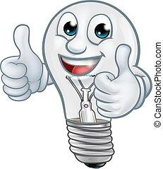 mascotte, lumière, lightbulb, dessin animé, ampoule, caractère