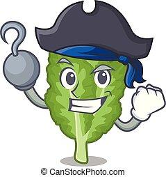 mascotte, mustrad, verde, pirata, islated