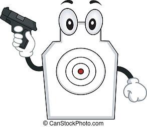 mascotte, obiettivo fucilazione, presa a terra, fucile