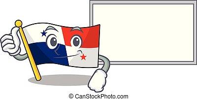 mascotte, panama, planche, drapeau, pouces, hoisted, poteau, haut