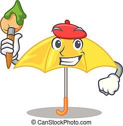mascotte, parapluie, isolé, jaune, artiste