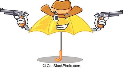 mascotte, parapluie, isolé, jaune, cow-boy