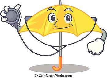 mascotte, parapluie, isolé, jaune, docteur