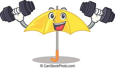 mascotte, parapluie, isolé, jaune, fitness