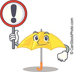 mascotte, parapluie, isolé, signe jaune