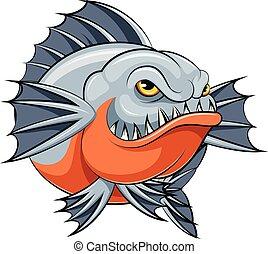 mascotte, piranha, fish, arrabbiato