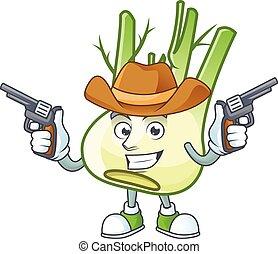 mascotte, pistole, finocchio, sorridente, cowboy icona, presa a terra