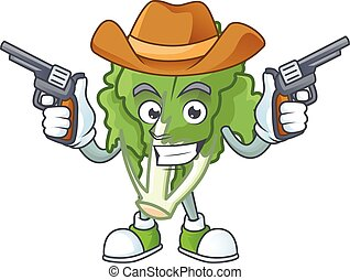 mascotte, pistole, sorridente, indivia, cowboy icona, presa a terra